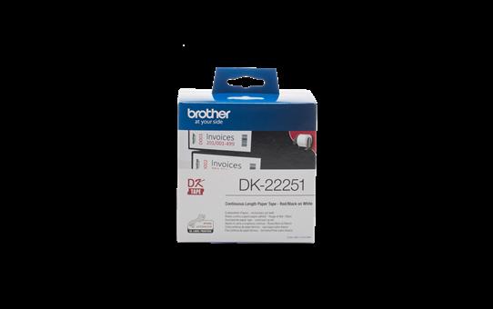 Brother original DK22251 papir taperull i løpende lengde - sort og rød skrift på hvit, 62 mm