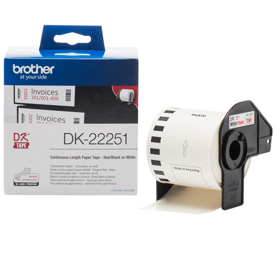 DK22251 DK-22251 Label etiket tape zwart rood