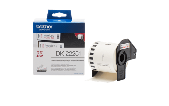Genuine Brother DK-22251 Continuous Paper Label Roll – Black and Red on White, 62mm 3