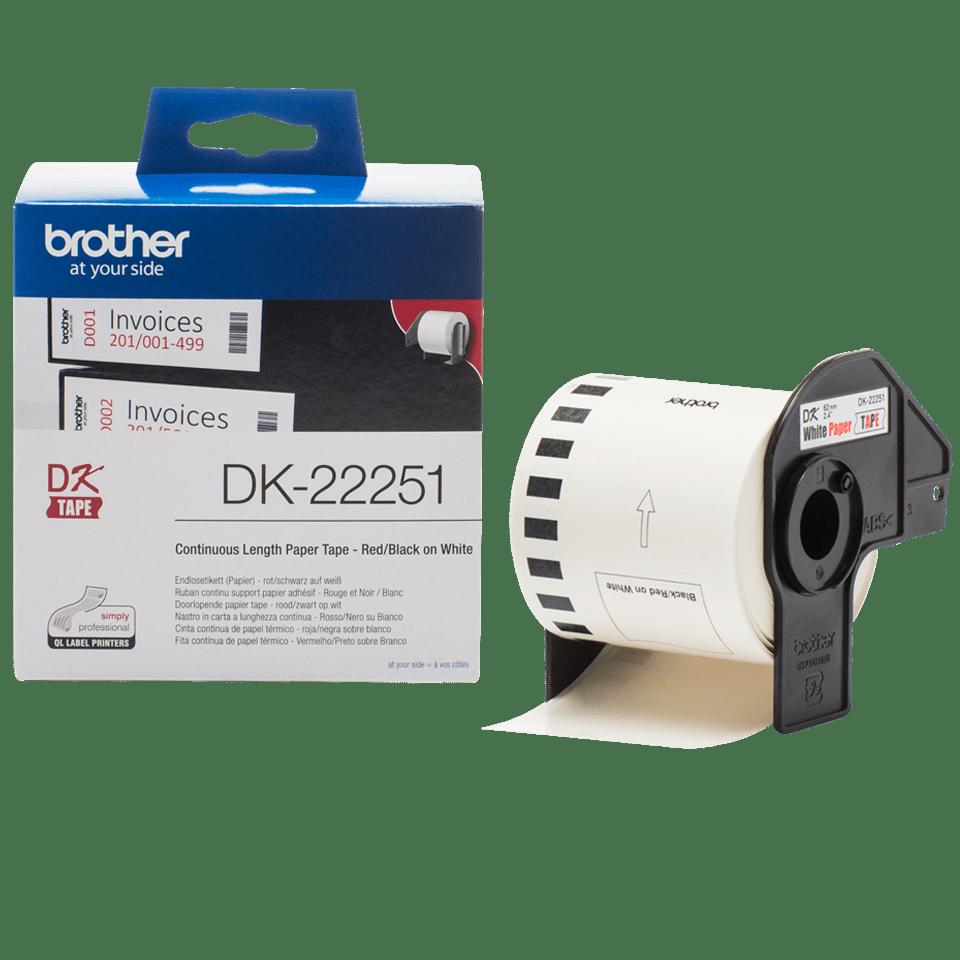 QL-810W carta rosso e nero su bianco 5x DK-22251 62 mm x 15,24 m Compatibili Etichette Nastri adesive continuo per Brother P-Touch QL-800 QL-820NWB etichettatrici