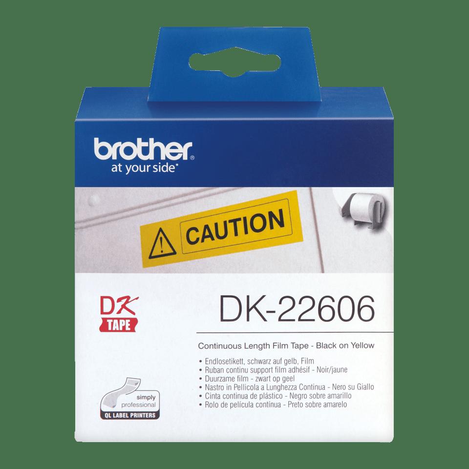 Wysokiej jakości foliowa taśma DK-22606 firmy Brother na rolce – czarny nadruk na żółtym tle, 62mm. 2