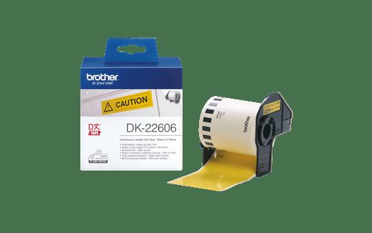 Brother DK22606: оригинальная кассета с непрерывной лентой  для печати наклеек черным на желтом фоне, ширина: 62 мм.