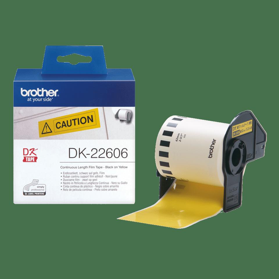 Brother DK-22606 Endlosetiketten – schwarz auf gelb