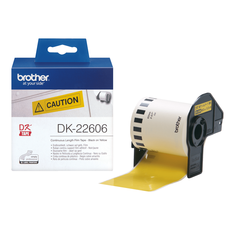 Eredeti Brother DK-22606 folytonos filmszalag – Sárga alapon fekete , 62mm széles