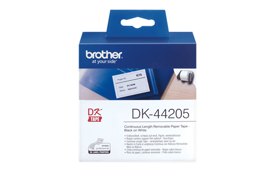 Genuine Brother DK-44205 Continuous Paper Label Roll with Removable Adhesive – Black on White, 62mm