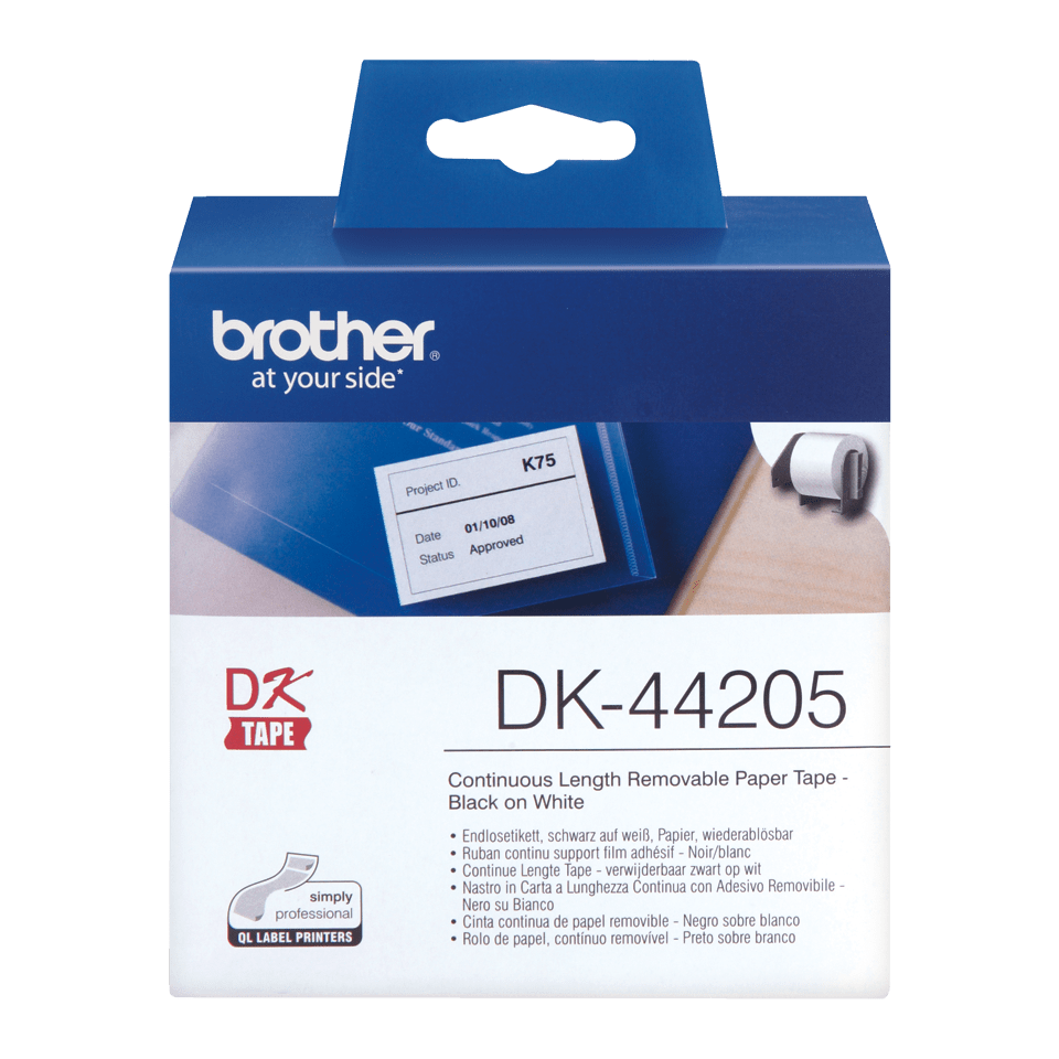 Rotolo di etichette di carta a lunghezza continua con adesivo rimovibile originale Brother DK-44205 – Nero su bianco, 62 mm