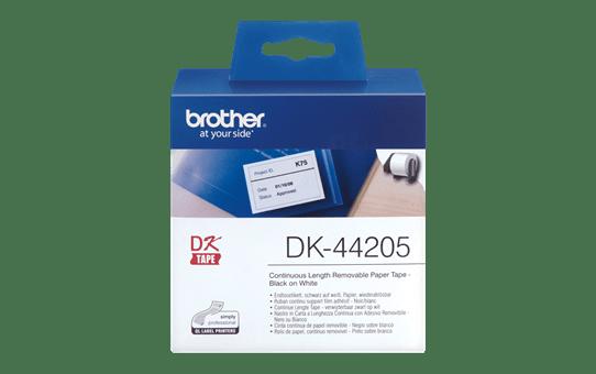 Original Brother DK44205 labelrulle i endeløs bane med klæbestof, der kan fjernes – sort på hvid, 62 mm