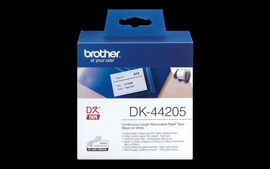 Brother DK-44205 original papperstape, borttagbar – svart på vit, 62 mm