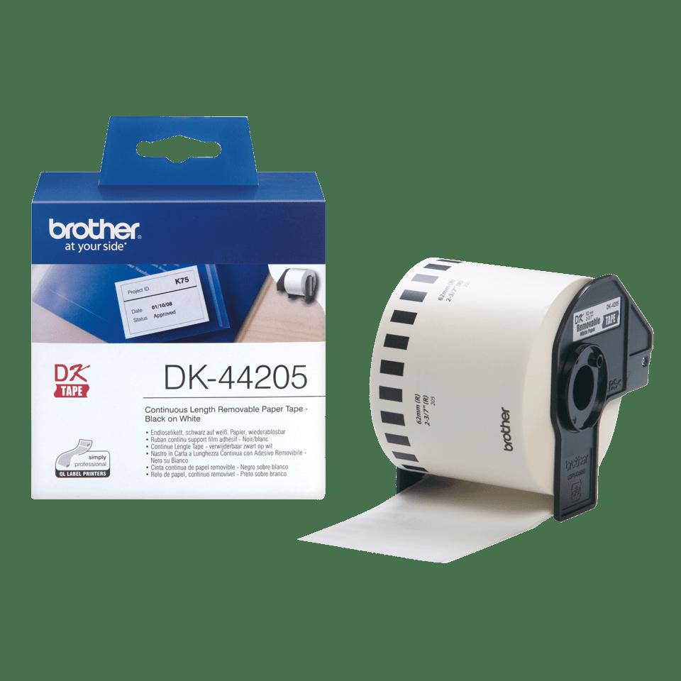 2x DK-44205 62 mm x 30.48 m Compatibili Etichette Nastri adesive continuo removibile per Brother P-Touch QL-1110NWB QL-1100 QL-1060N QL-500 QL-570 QL-580 QL-700 QL-710W QL-800 QL-810W QL-820NWB