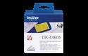 Original DK-44605 Endlosetikettenrolle von Brother – Schwarz auf Gelb, Papier, wiederablösbar, 62mm