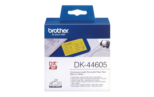 Original Brother DK44605 labelrulle – gul, 62 mm x 30,48 m