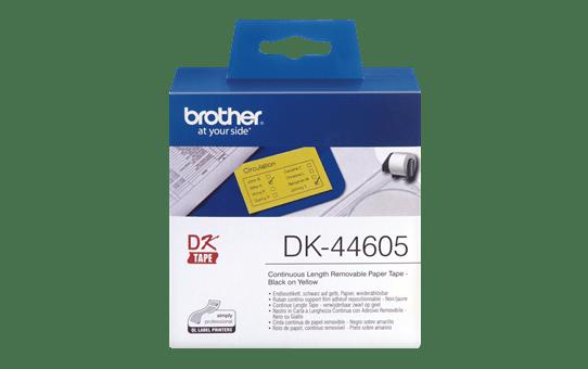 Rotolo di etichette originale Brother DK-44605 – Nero su giallo, 62 mm x 30,48 m