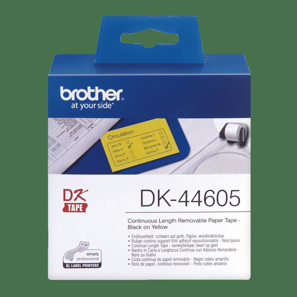 Oriģināls Brother DK-44605 vienlaidu garuma papīra uzlīmju rullis - viegli atlīmējama lente - melnas drukas dzeltena, 62mm