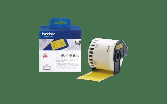 Brother DK44605: оригинальная непрерывная бумажная лента с удаляемой клейкой поверхностью для печати наклеек черным на желтом фоне, 62 мм. 3