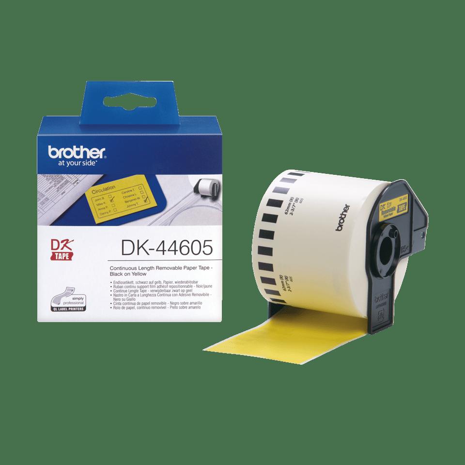 Oriģināls Brother DK-44605 vienlaidu garuma papīra uzlīmju rullis - viegli atlīmējama lente - melnas drukas dzeltena, 62mm  3