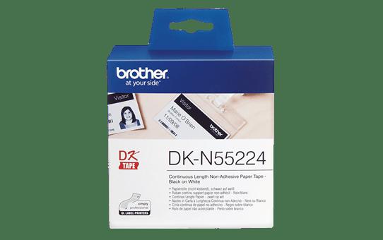 Rotolo di carta non adesiva a lunghezza continua originale Brother DK-N55224 – Nero su bianco da 54 mm