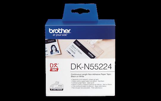 Brother original DKN55224 etikettrull i papir uten lim i løpende lengde - sort på hvit, 54 mm bred