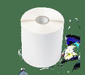 Etikettrulle BUS-1J074102-121, formklippta, vita, obelagda etiketter för termotransferteknik
