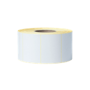 BUS1J074102203 ролка с бял етикет, прозрачен фон - снимка отпред