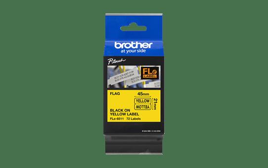 Cassette à ruban pour étiqueteuse FLe-6511 Brother originale - 72 étiquettes drapeaux pré-découpées - Noir sur Jaune, 21 mm de large 3