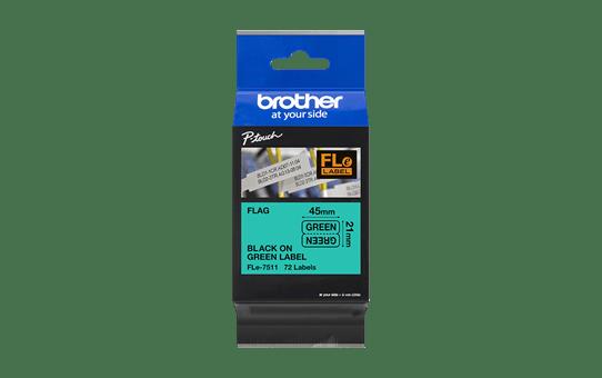 Brother FLe-7511 Schriftband – schwarz auf grün 3