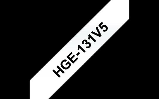 Brother HGe131V5: оригинальная кассета с лентой для печати наклеек черным на прозрачном фоне, ширина: 12 мм.