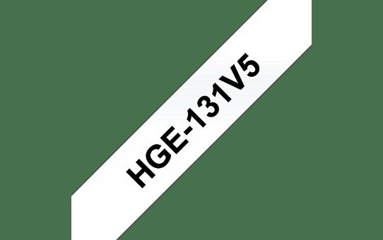 Cassetta nastro per etichettatura originale Brother HGe-131V5 – Nero su trasparente, 12 mm di larghezza