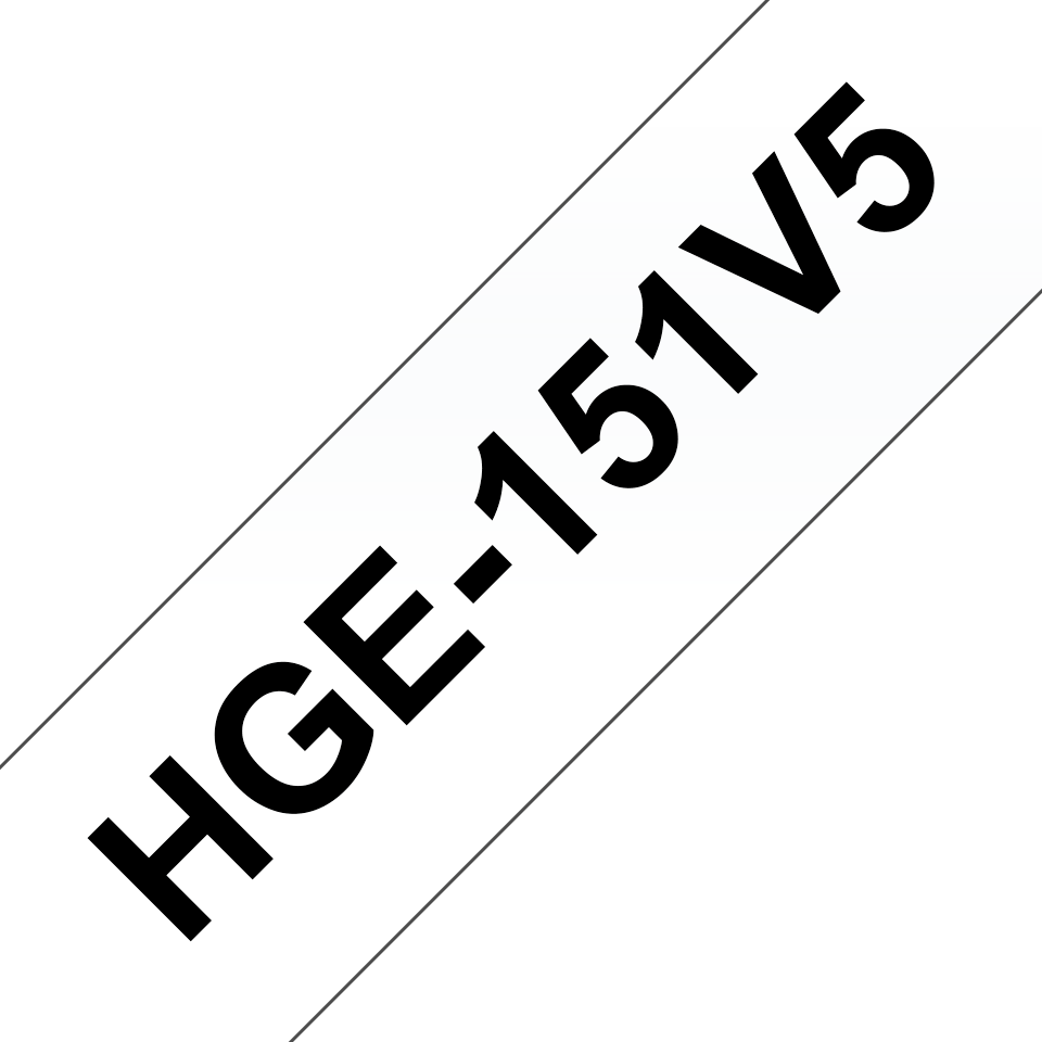 Genuine Brother HGe-151V5 Labelling Tape Cassette – Black on Clear, 24mm wide
