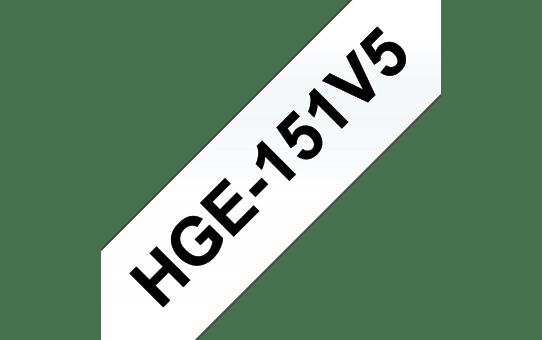 Original Brother HGe151V5 høykvalitets merketape – sort på klar, 24 mm bred