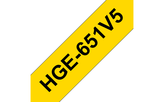 Genuine Brother HGe-651V5 Labelling Tape Cassette – Black on Yellow, 24mm wide