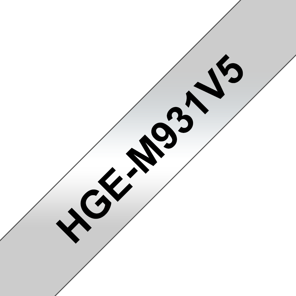 Genuine Brother HGe-M931V5 Labelling Tape Cassette – Black on Silver, 12mm wide