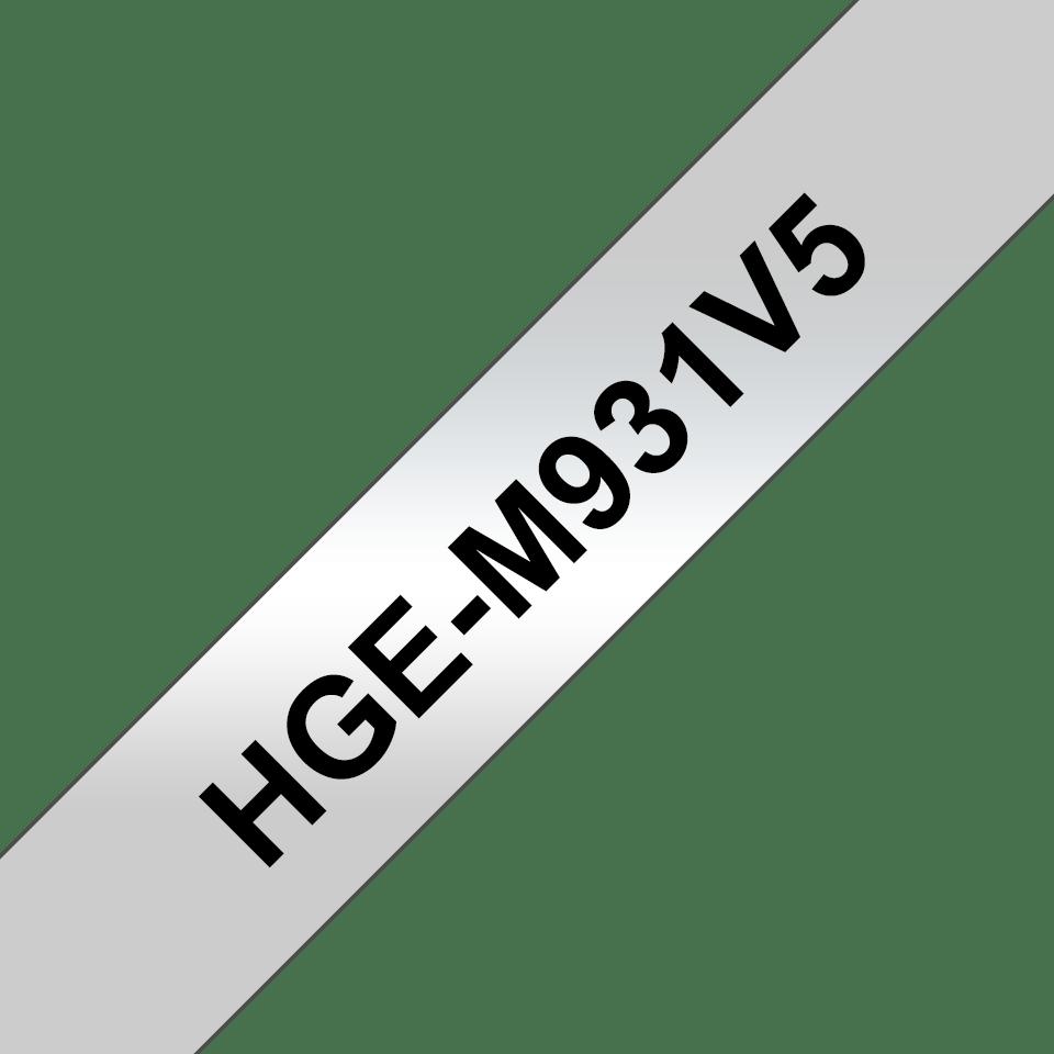 Brother HGeM931V5 original laminerad High Grade tape, svart på silver, 12 mm