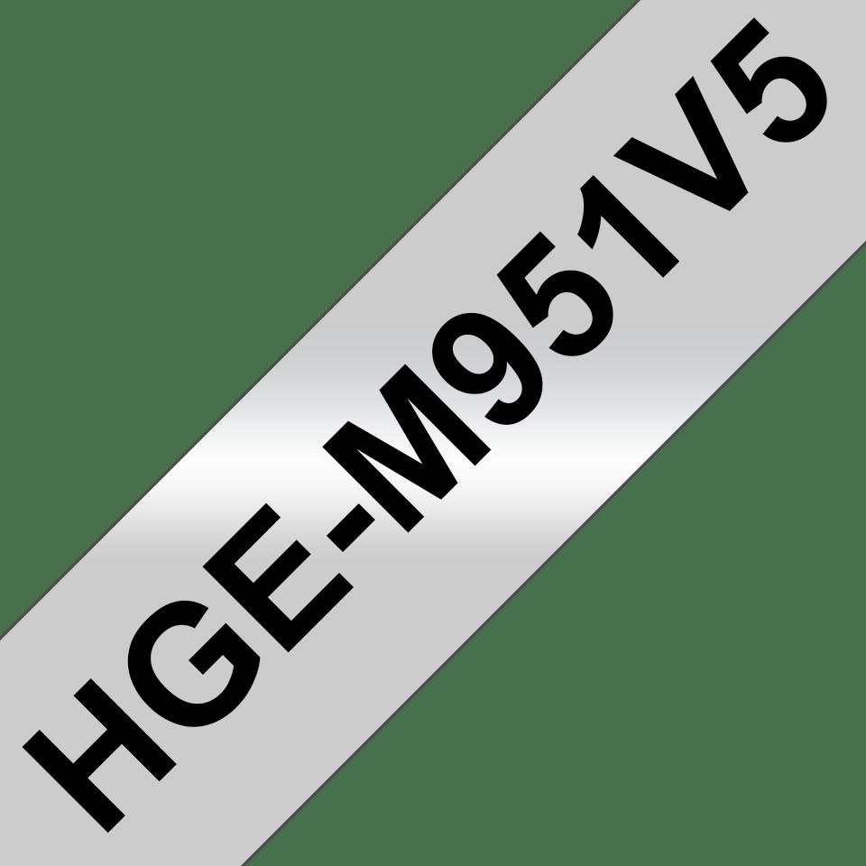 Eredeti Brother HGe-M951V5 szalag – Matt ezüst alapon fekete, 24mm széles