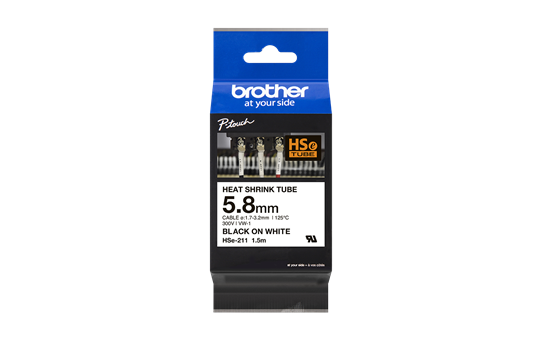 Genuine Brother HSe-211 Heat Shrink Tube Tape Cassette – Black on White, 5.8mm wide 3