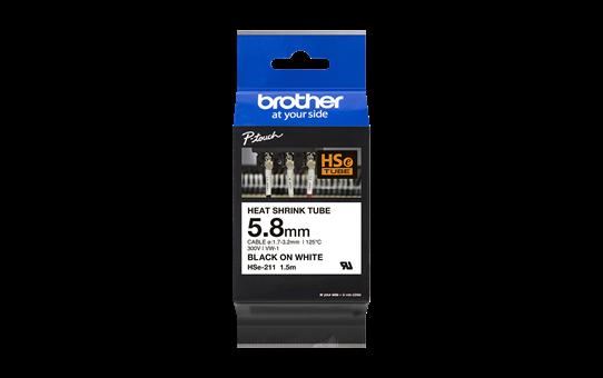 Genuine Brother HSe-211 Heat Shrink Tube Tape Cassette – Black on White, 5.8mm wide 2