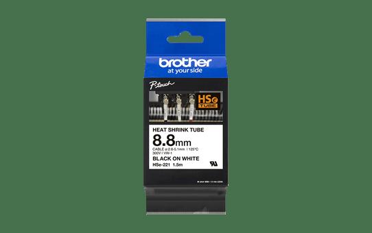 Oriģināla Brother HSe-221 termosēžas cauruļveida uzlīmju lentes kasete - melnas drukas, balta - 8.8mm plata 2