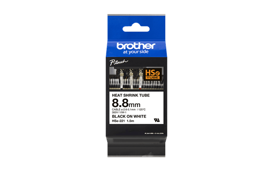 Genuine Brother HSe-221 Label Roll – Black on White with heat shrink, 8.8mm x 1.5M 2