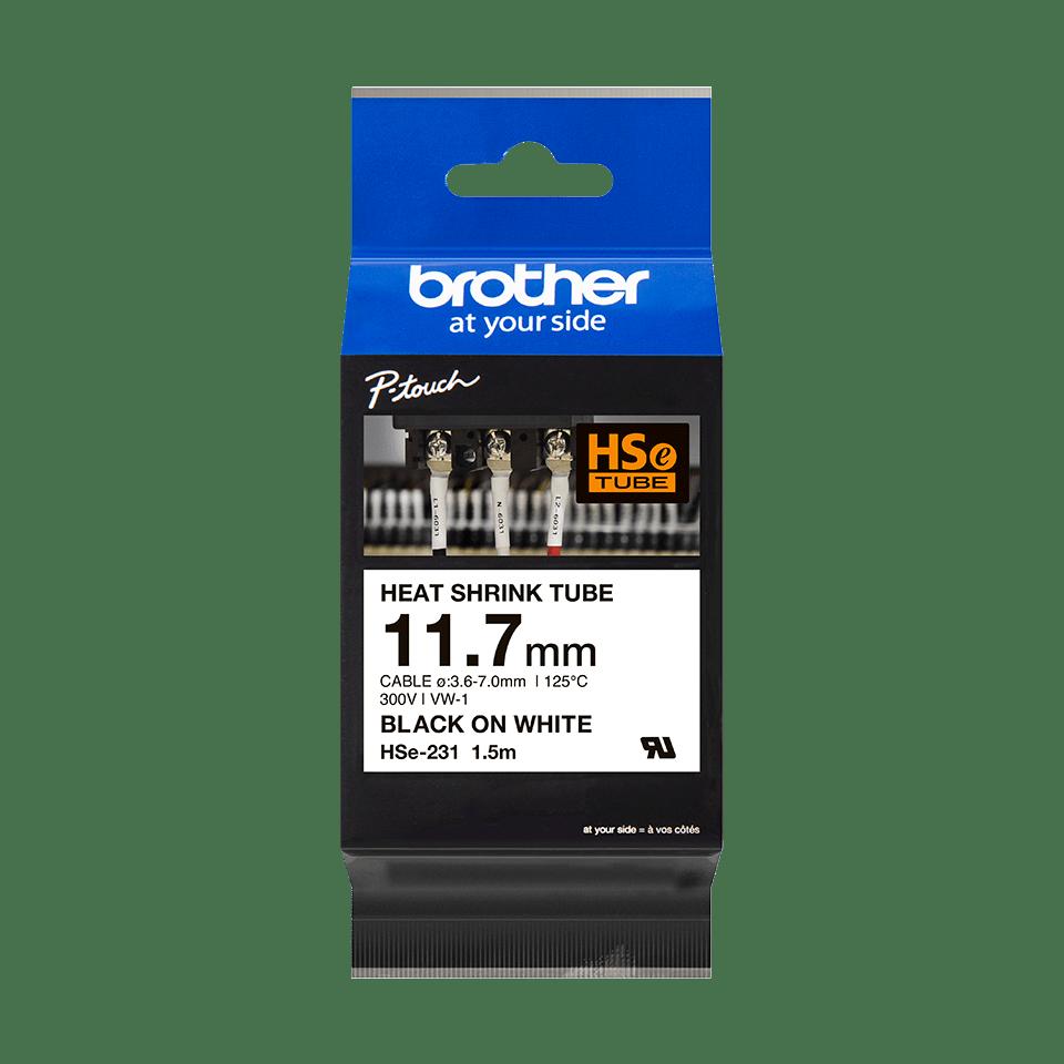 Original Brother HSe-231 krympeflextape – sort på hvid, 11,7 mm bred 3
