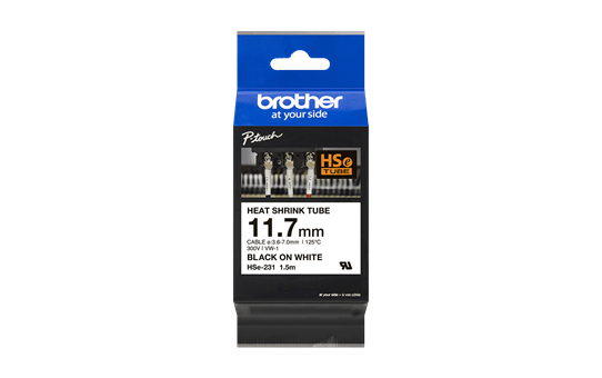 Original Brother HSe-231 krympeflextape – sort på hvid, 11,7 mm bred 3