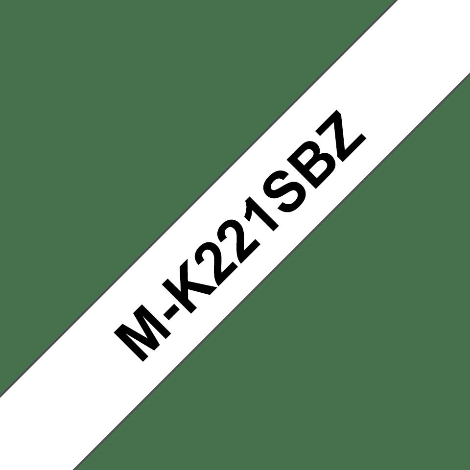 Original Brother MK221SBZ tape – sort på hvid, 9 mm bred