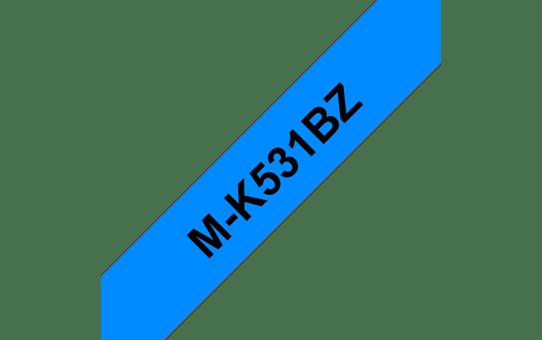 Original Brother MK531BZ merketape – sort på blå, 12 mm bred 2