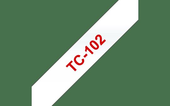 Оригинална касета Brother TC102, червен текст на прозрачна лента, ширина 12mm