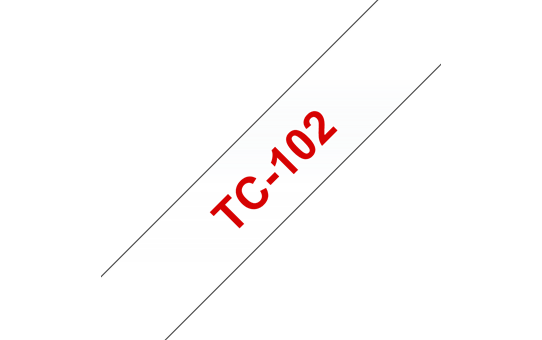 Genuine Brother TC-102 Labelling Tape Cassette – Red on Clear, 12mm wide
