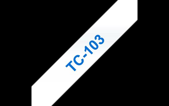Brother original TC103 etikettape – blå på genomskinlig, 12 mm