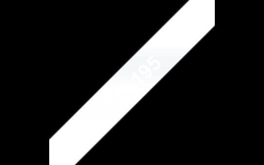 Brother original TC195 etikettape – vit på genomskinlig, 9 mm