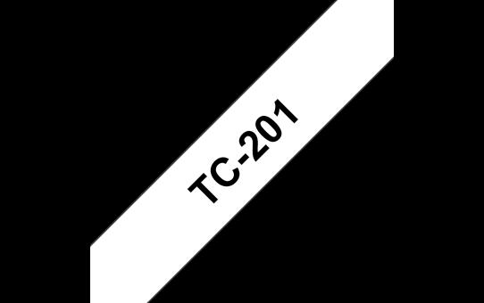 Оригинална касета Brother TC201, черен текст на бяла лента, ширина 12mm