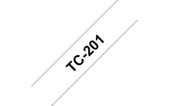 Genuine Brother TC-201 Labelling Tape Cassette – Black on White, 12mm wide