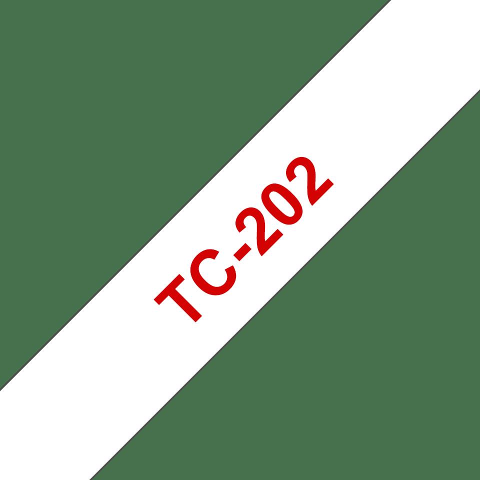 Brother TC-202 Cassetta nastro per etichettatura originale - Rosso su bianco