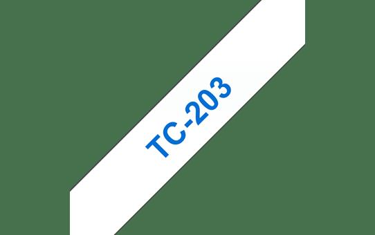 Оригинална касета Brother TC203, син текст на бяла лента, ширина 12mm