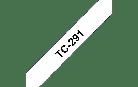 Оригинална касета Brother TC291, черен текст на бяла лента, ширина 9mm